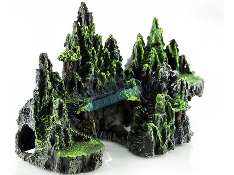 Mountain view aquarium ornament tree house cave bridge for Aquarium cave decoration