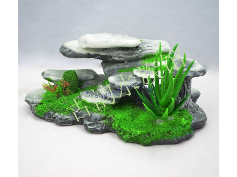 Mountain view aquarium ornament tree house cave bridge for Aquarium bridge decoration